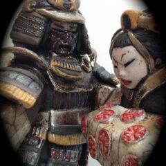 sculpture samouraï et geisha-Emmanuelle Not