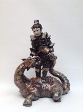 sculpture guerrier-Ryuko et le dragon-Emmanuelle Not