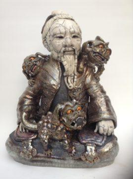 sculpture raku-sage et dragons-Emmanuelle Not