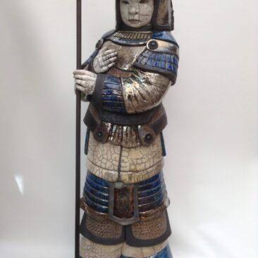 sculpture raku-Zenji le samouraï-Emmanuelle Not