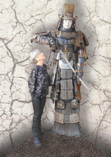 samouraï sculpture raku-Emmanuelle Not