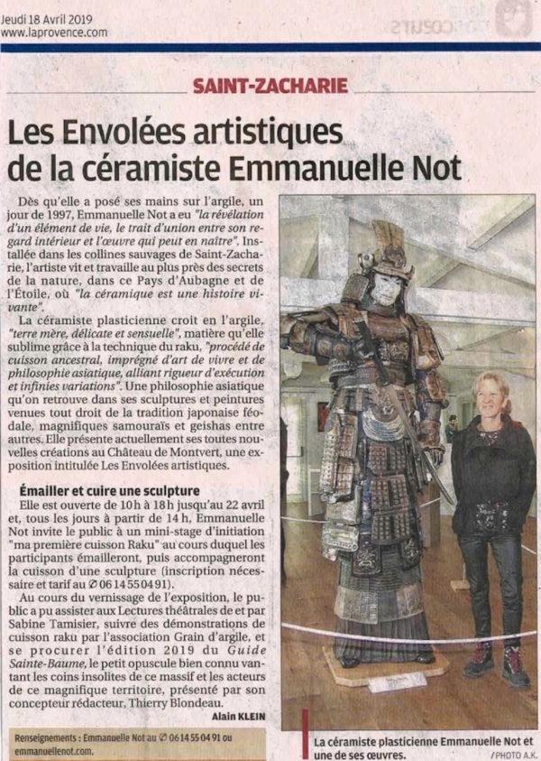 Presse : Le samourai Kunimasa - Raku - Emmanuelle Not