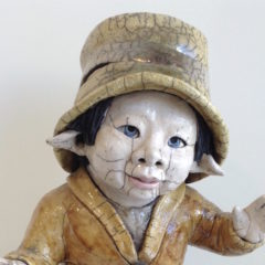lutin chapeau- Raku - Emmanuelle Not