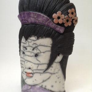 portrait geisha2 - bas relief - raku - Emmanuelle Not