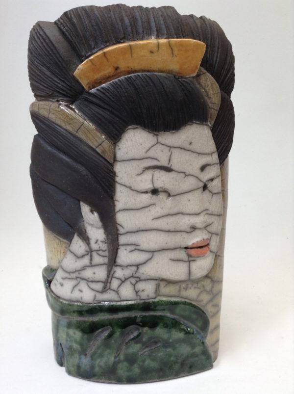 portrait geisha4 - bas relief - raku - Emmanuelle Not