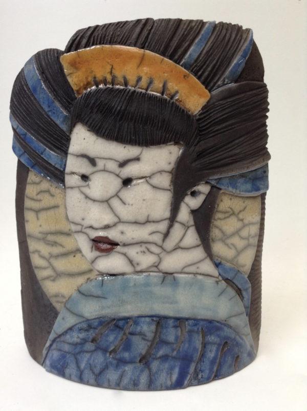 portait geisha6 - bas relief - raku - Emmanuelle Not