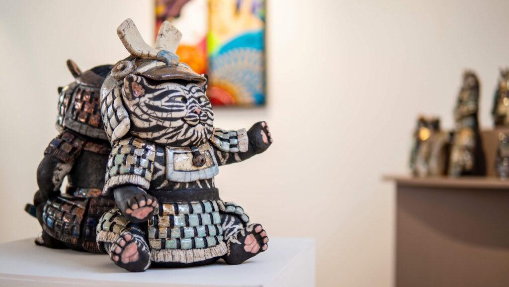 Exposition Sanary - Sculptures raku - Emmanuelle Not- photo Valentin Fesquet