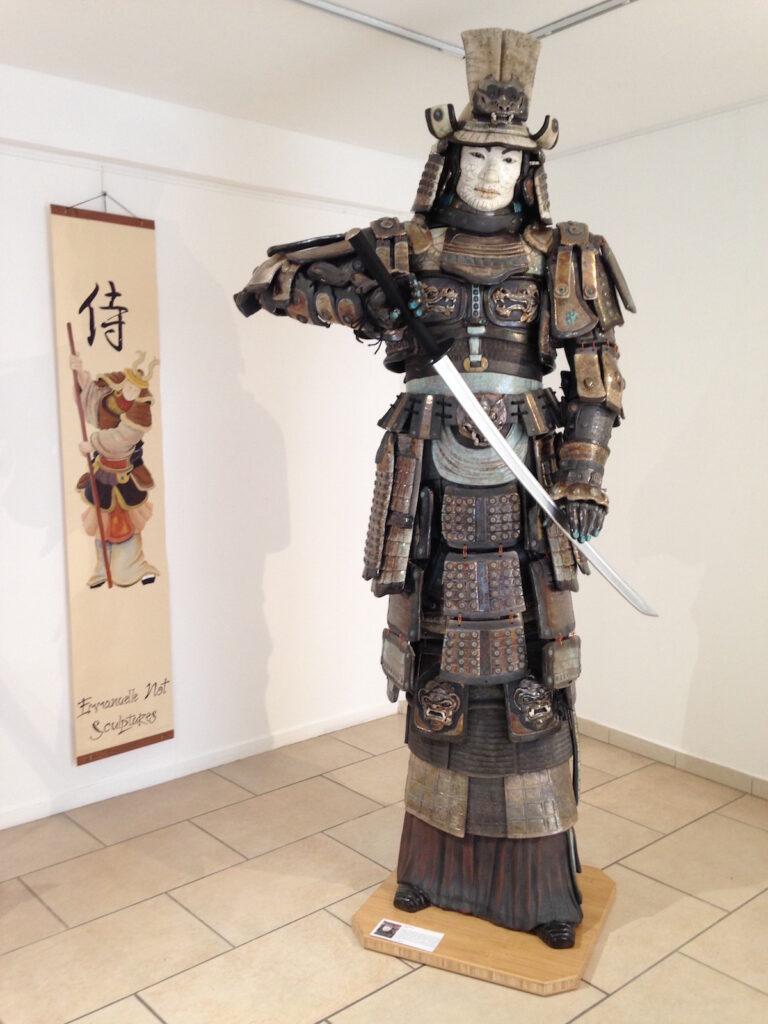 Exposition Sanary - Samouraï Kunimasa- sculpture raku - Emmanuelle Not