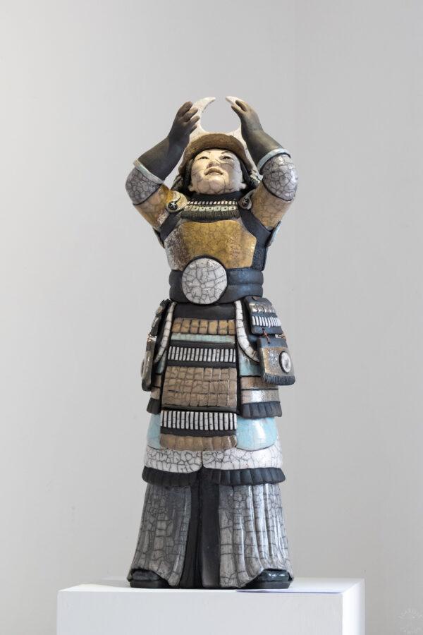 Samouraï Mangetsu - sculpture raku - Emmanuelle Not