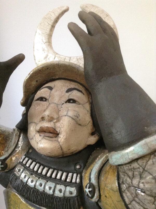 Samouraï Mangestsu - sculpture raku - Emmanuelle Not