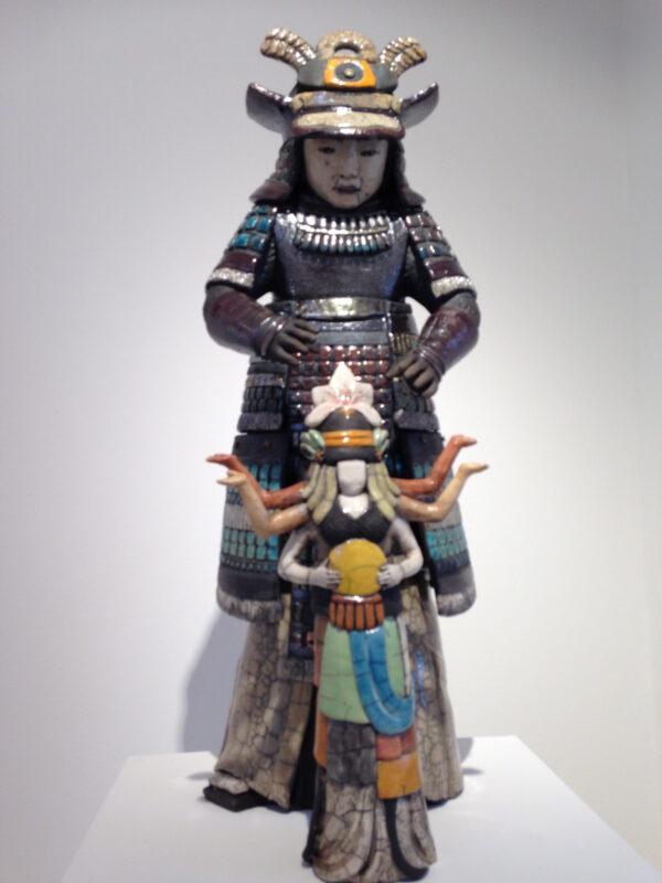 Samouraï Hiyokudo - sculpture raku - Emmanuelle Not