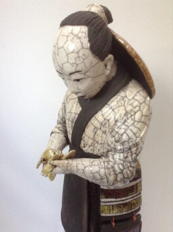 Samouraï Kisetsu - sculpture raku - Emmanuelle Not