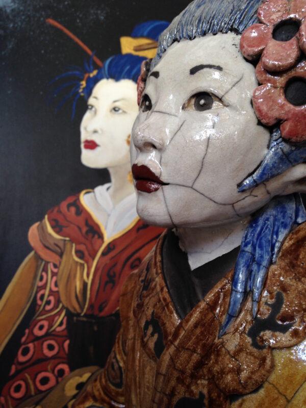 Geisha Asahi - sculpture raku - Emmanuelle Not