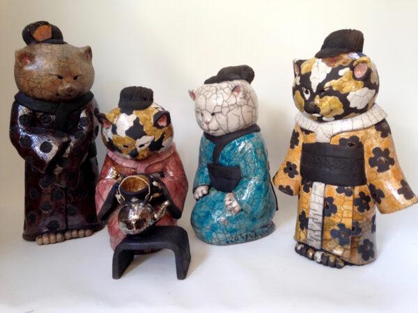 Chat Geishaminette - sculpture raku - Emmanuelle Not