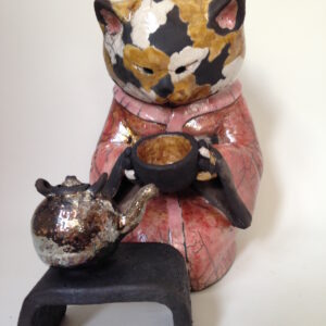 Chat Geishaminette n°2 - sculpture raku - Emmanuelle Not