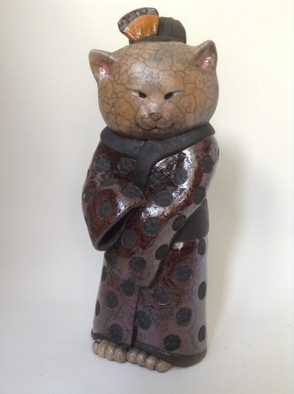 Chat Geishaminette n°4 - sculpture raku - Emmanuelle Not